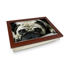 Pug Dog Lying Down Lap Tray - Personalised Gift Personalised Gifts Unique, Unique Gifts, Lap Tray, Laptop Desk, Breakfast In Bed, Wooden Frames, Pugs, Cleaning Wipes, Puppies
