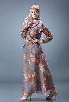 Long Dress Muslim Motif Bunga