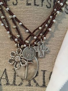Uncinetto stile boho amore argento collana di MarleeLovesRoxy