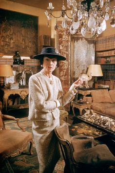 Coco Chanel in her Paris apartment
