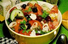 Horiatiki / Greek Salad - This is my favorite salad made with feta cheese.  #NorwegiansPinToWin
