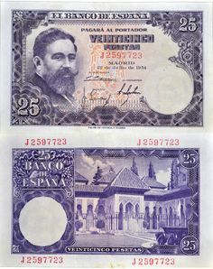 Billete de 25 pesetas de 1954.  Anverso con Isaac Albéniz, grabado por José López Pavía. Reverso el Patio de los Leones en la Alhambra de Granada. Make Money Online, How To Make Money, Singapore Dollar, Coin Collecting, Facebook Sign Up, Nostalgia, Overnight Delivery, Elder Scrolls, Retro
