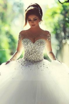 Luxury Bling 2015 Wedding Dresses Sheer Illusion Tulle Train Crew Neck Long Sleeves Beads Crystal Lace-up A-Line Bridal Gowns Ball Custom Online with $153.98/Piece on Hjklp88's Store