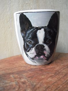 French bulldog, hand painted on Mug Hand Painted Mugs, Best Dogs, Boston Terrier, French Bulldog, Dog Lovers, Cups, Porcelain, Coffee, Amazing