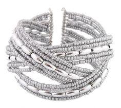 BESTSELLER! Ladies Silver Beads & Oval Shapes Designer Style Adjustable Bangle Bracelet $0.01