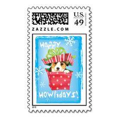 Happy Howlidays Pembroke Welsh Corgi Postage Stamp