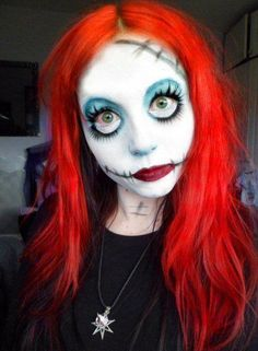 Strange Shenanigans Rushed Makeup idea as Sally for a fancy dress Party, (where the black stitch marks are Im gonna use scar wax) Halloween Makeup For Kids, Trendy Halloween, Family Halloween Costumes, Halloween Kostüm, Sally Nightmare Before Christmas, Costume Sally, Sally Makeup, Fx Makeup, Makeup Ideas