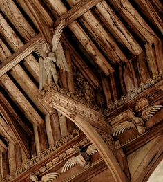 Cawston, Norfolk - St Agnes: One of the roof angels (which is over tall) standing on a hammerbeam, clad in a suit of feathers. We know that medieval actors portraying angels in pageants and mystery plays wore suits of feathers like this. Church Architecture, Historical Architecture, Architecture Details, Little England, Medieval Art, Medieval Houses, Medieval Life, Roof Ceiling, Sculptures