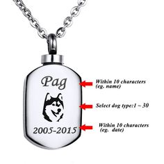VALYRIA Polished Stamp Blank Pendant Urn Keepsake Cremation Ashes Necklace with Personalized Engraving => You will love this! More info here : Dog Memorials