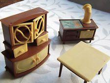 Wonderful Vintage Dolls House Furniture Vintage Kitchen, (marked Jean W. Germany)  Plastic