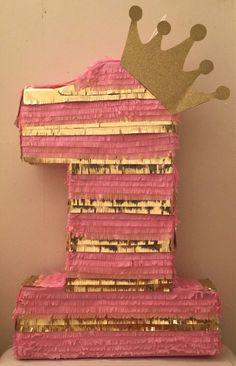 Number One Princess Pinata Pink And Gold Birthday Party, Gold First Birthday, 1st Birthday Girls, 1st Birthday Parties, Princess Pinata, Princess Birthday, Minion Pinata, Mickey 1st Birthdays, Birthday Pinata