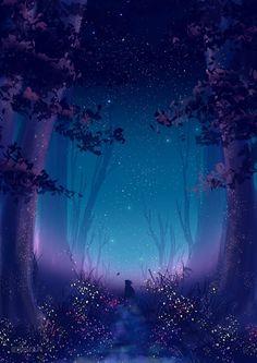 Stargaze Forest by Erisiar on DeviantArt Fantasy Art Landscapes, Fantasy Landscape, Fantasy Artwork, Landscape Art, Beautiful Landscapes, Fantasy Drawings, Fantasy Forest, Fantasy World, Aesthetic Backgrounds