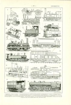 1908 Vintage train engine print antique French by annelondez1, $24.50