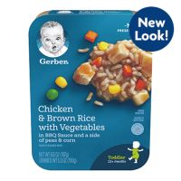 Gerber Lil' Entrees Chicken and Brown Rice with Vegetables in BBQ Sauce with Peas and Corn, oz Tray Diced Chicken, Bbq Chicken, Baby Food Recipes, Gourmet Recipes, Whole Grain Brown Rice, Chicken And Brown Rice, Vegetable Rice, Chicharrones, Meat Chickens