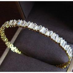 Baguette Open Cuff Bracelet Bangle. Elegant CZ Diamonds on this Modern Cuff Bangle Bracelets Design. Gold Cuff Bracelet Elegant Unique Wedding Bracelets Open Cuff Bangle Bracelet Cubic Zirconia Bridal Wrist Cuffs Jewelry
