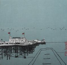 20 x 20cm textile of Brighton Pier stretched over a wooden frame. Silk screen, applique and hand stitching on blue linen fabric. By Flo Snook