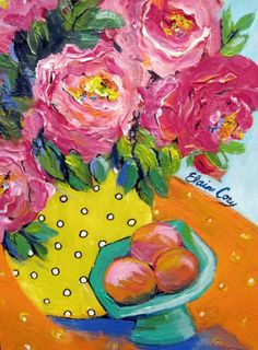 Amarillo florero todavía vida Original pintura por ElainesHeartsong