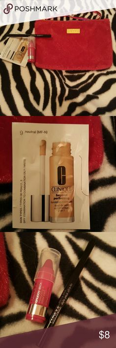 Clinique samples with ipsy make up bag. New Clinique samples with ipsy make up bag. New and unused.   Skinny stick eyeliner: black  Chubby stick: 15 pudgy pink Foundation + concealer Clinique Bags Cosmetic Bags & Cases