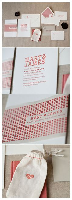 Letter press invitation set