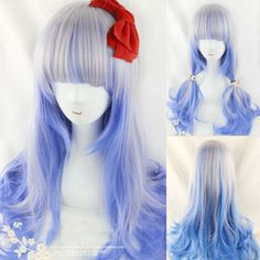 Anime Silver Blue Highlights Mixed Color wavy Hair Girl Lolita Cosplay Party Wig #Mcoser #FullWig