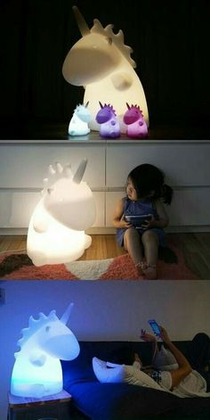 """It was so fluffy, I thought I was gonna die."" This unicorn lamp. I heart it. For the kids of course. Ahem."