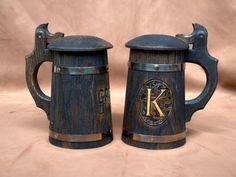 Set of 5  wooden Beer Mug 0.7l 23oz Wooden Tankard Beer