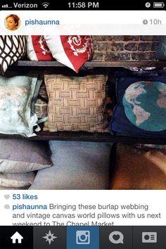 Burlap webbing pillow
