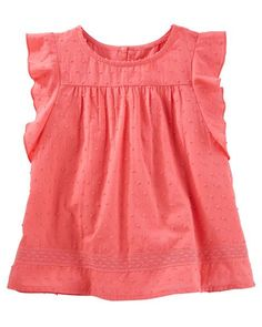 Toddler Girl Swiss Dot Flutter Sleeve Top from OshKosh B'gosh. Shop clothing & accessories from a trusted name in kids, toddlers, and baby clothes.