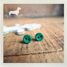 Kelly Green Itty Bitty Button Post Earrings  by PickleDogDesign, $5.50