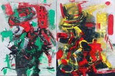 """Pre-carnaval"", acrílico sobre tela, 2 módulos de 40.6 x 30.5 cms cada uno, Ximena Girado, 2013"