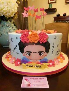 Frida cake, minus the butterflies Pasteles Cake Boss, Bolos Cake Boss, Pretty Cakes, Beautiful Cakes, Amazing Cakes, Fondant Cakes, Cupcake Cakes, Frida Kahlo Birthday, Just Cakes