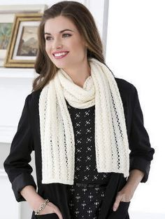 """Lace Stripes Scarf Knitting Needle Size: 5 or 3.75 mm Yarn Weight: (4) Medium Weight/Worsted Weight and Aran (16-20 stitches to 4 inches) MATERIALS RED HEART® Heart & Sole® with Aloe: 4 balls 3115 Ivory Susan Bates® Knitting Needles: 3.75mm [US 5] Stitch markers, yarn needle Size: Scarf  measures 15"""" (38cm) wide x 59"""" (150cm) long"""