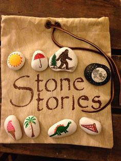 STONE STORIES Rocks Hand Painted with Pouch by BrownsThreadWorks