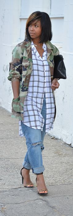 Camo,, Pattern Mix, Fall Outfit Idea, Stripes