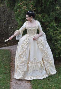 cream robe à la Française (Watteau gown)  c 18th century