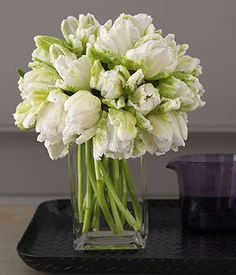 white  green parrot tulips - simple  elegant - look great alone, or could be mixed with other flowers - could be for bouquets or table arrangements