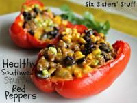 Six Sisters Healthy Southwest Stuffed Red Peppers. We love stuffed red peppers! Healthy recipe!! #sixsistersstuff