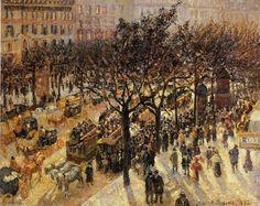 Camille Pissarro Artwork | Camille Pissarro >> Boulevard des Italiens. Afternoon | (olio, opera d ...
