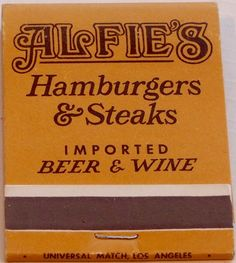 Alfie's Hamburgers & Steaks #frontstriker #matchbook - To Order your business' own branded #matchboxes or #matchbooks GoTo:www.GetMatch... or CALL 800.605.7331 to get the quick & painless process started today!