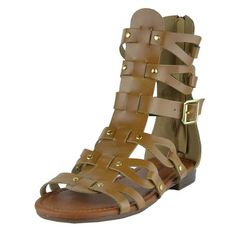 Womens Flat Sandals Faux Leather Gold Stud Caged Gladiator Shoes Tan SZ 65 ** Read more  at the image link.
