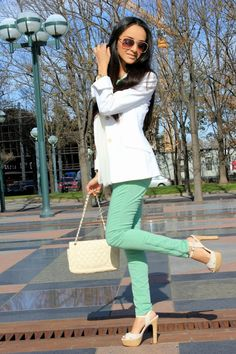 pastel pants and white and adorable shoes