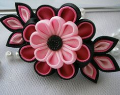 Items similar to Handmade Kanzashi fabric flower grosgrain ribbon french barrette - hair accessories in UK,shipping worldwide on Etsy