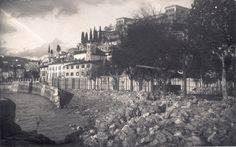 Verona - Crollo del muraglione alla Giarina causato dalla piena dell'Adige - 1926 Verona, The Past, Louvre, Photos, Building, Travel, Vintage, Italy, Fotografia