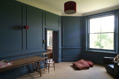 navy blue panelled walls lightlocations.com