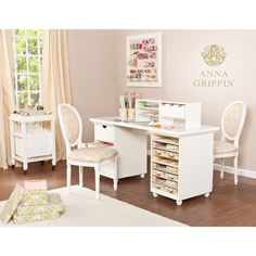 No crafting sanctuary is complete without a workspace, and the Anna Griffin customizable desk products accomplish just that. Spacious antique white worktop coordinates with interchangeable accessory t