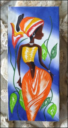 """Haitian Woman -Hand Painted Original Canvas Painting from Haiti - Yellow - Orange - 12"""" x 28"""" by TropicAccents, $39.95"""