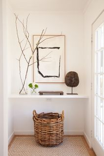 No room for an entry table? Why not add a narrow ledget? Perfect for keys, etc., and also to display your favorite finds. Tuck away necessities below. simple and smart. #foyer #entry