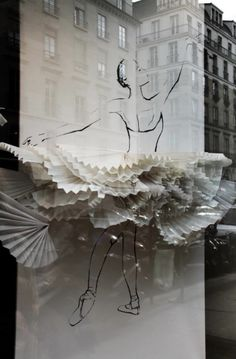 (ballerina) love the single dimension of the silhouette, and the explosion of layers + depth of the skirt! window display, paper skirt, layers, white, silhouette, sketch
