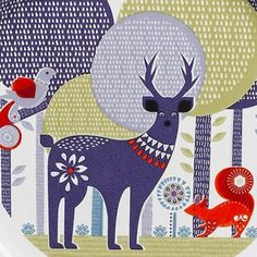 "bird, deer, squirrel in the ""Folk Lore Collection"" by Nina Jarema for ""Wild And Wolf"""