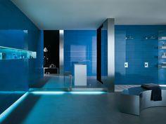 Blue wall tiles by Ceramiche Atlas Concorde Concorde, Blue Furniture, Furniture Design, Pantone 2020, Amazing Bathrooms, Store Design, Wall Tiles, Interior Design, Toilet